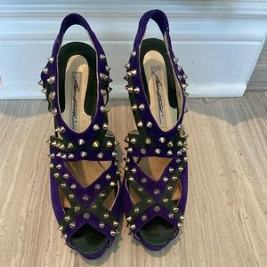 Brian Atwood Gold spiked suede heels